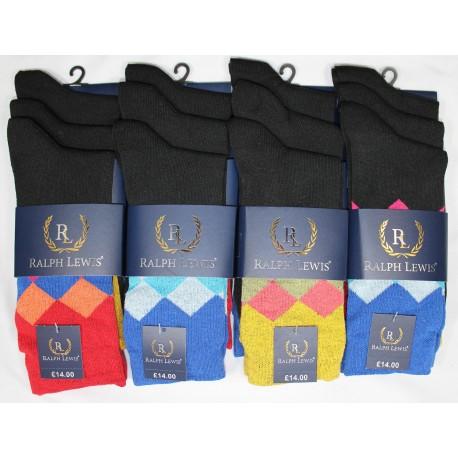 Mens 6-11 Ralph Lewis Diamond Everyday Socks