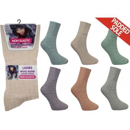 Ladies 4-7 Non Elastic Short Wool Blend Assorted Socks