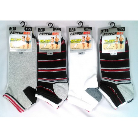 Mens 6-11 Performax Assorted Stripe Trainer Socks