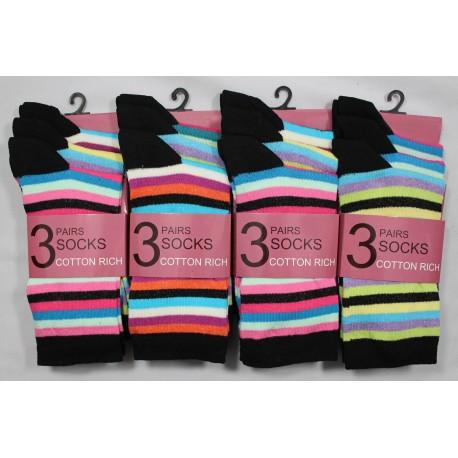 Ladies 4-7 Striped Ankle Socks