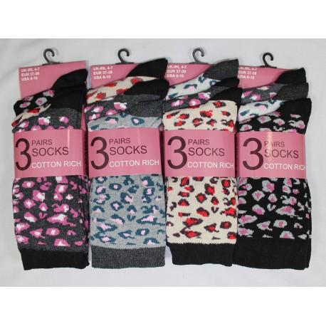 Ladies 4-7 Leopard Ankle Socks
