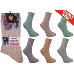 Ladies 4-7 Short Chunky Wool Blend Assorted Socks
