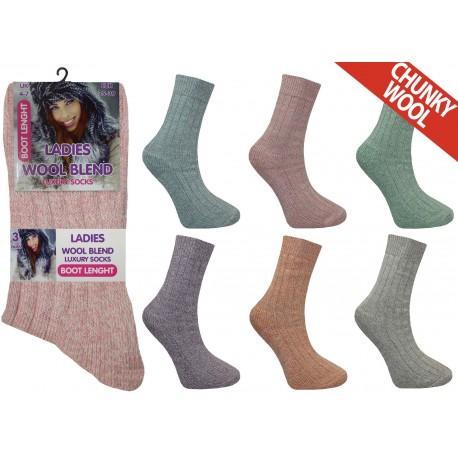 Ladies 4-7 Short Chunky Wool Blend Assorted Socks