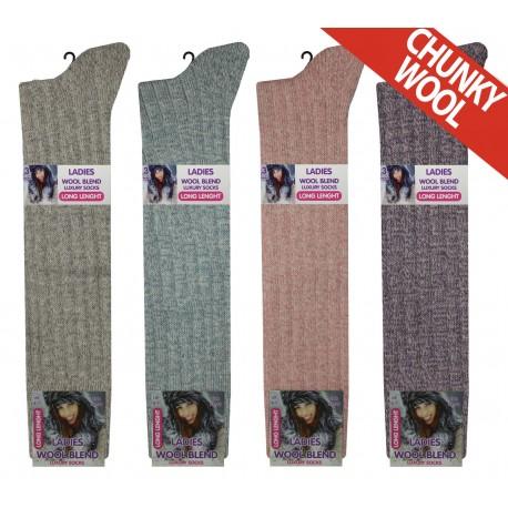 Ladies 4-7 Long Chunky Wool Blend Assorted Socks