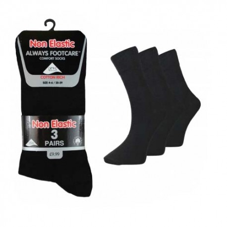 Girls 4-6 Always Footcare Plain Black Non Elastic Socks