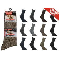Mens 6-11 Short Chunky Wool Blend Assorted Socks
