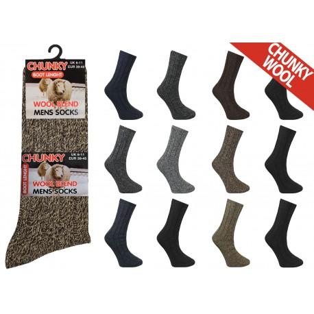 Mens 6-11 Short Chunky Wool Blend Assorted Socks