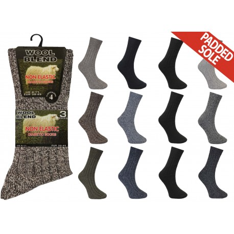 Mens 6-11 Non Elastic Wool Blend Socks