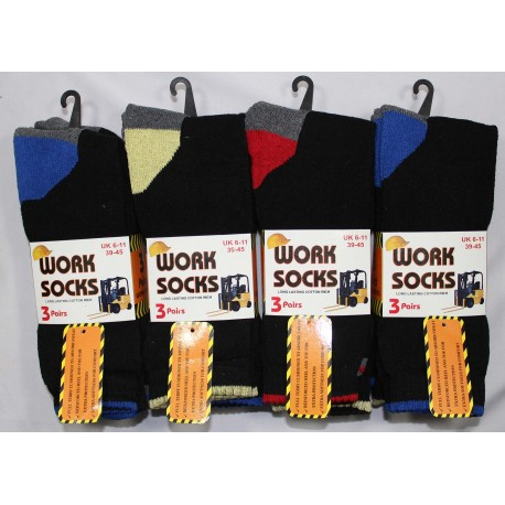Mens 6-11 Colour Heel & Toe Work Socks v2