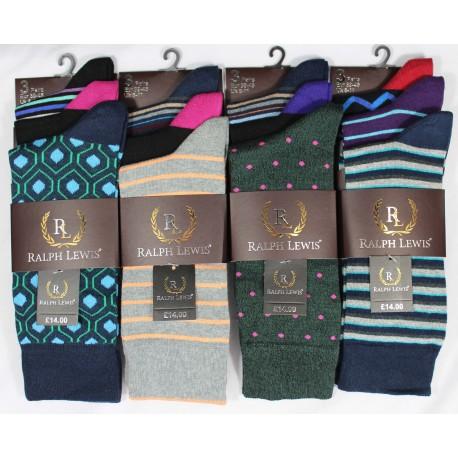 Mens 6-11 Ralph Lewis Suit Design Mix Socks