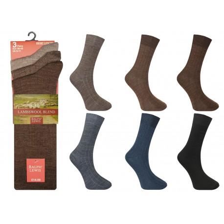 Mens 6-11 Ralph Lewis Short Fine Wool Assorted Socks