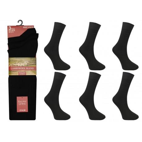 Mens 6-11 Ralph Lewis Short Fine Wool Black Socks
