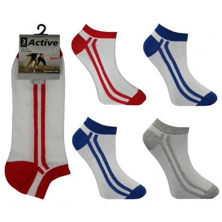 Mens 6-11 Active Double Stripe Trainer Socks