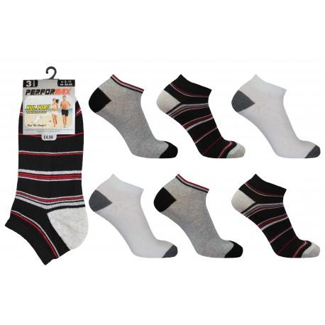 Mens 6-11 Performax Assorted Stripe Trainer Socks