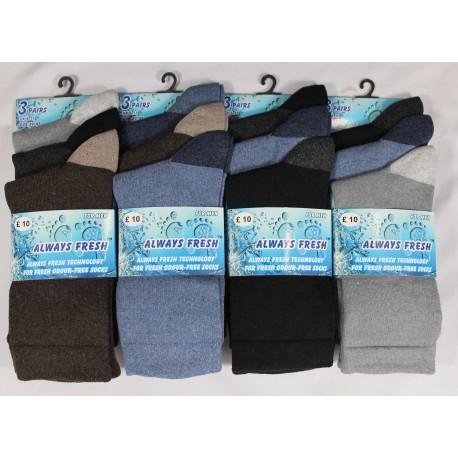Mens 6-11 Always Fresh Dark Heel & Toe Everyday Socks