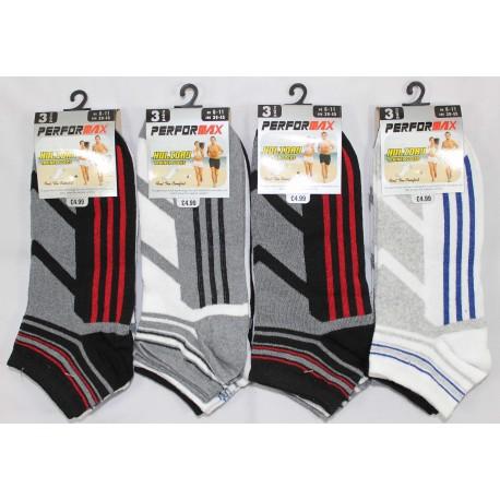 Mens 6-11 Performax V6 Striped Trainer Socks
