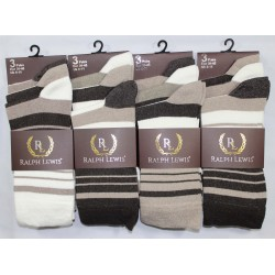 Mens 6-11 Ralph Lewis Brown Stripe Everyday Socks