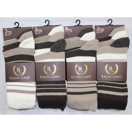 Mens 6-11 Ralph Lewis Brown Stripe Everyday Socks
