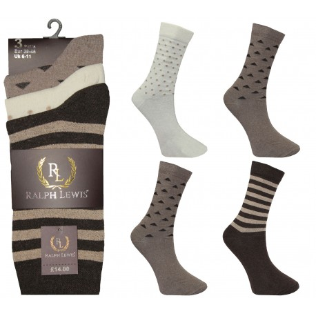 Mens 6-11 Ralph Lewis Assorted Brown Everyday Socks