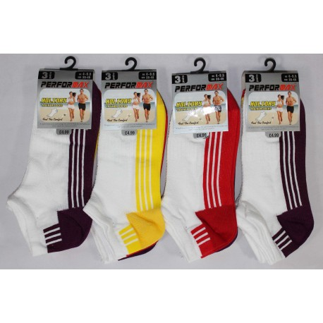 Ladies 4-6½ Performax Stripe Trainer Socks
