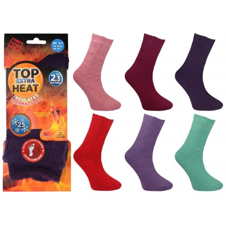 Ladies 4-7 Top Heat Extra Insulated Brushed Thermal TOG Rated Socks