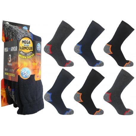 Mens 6-11 Mega Armour Colour Heel & Toe Work Socks