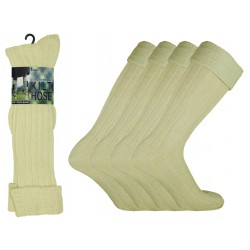 Mens 6-11 Cream Scottish Kilt Socks