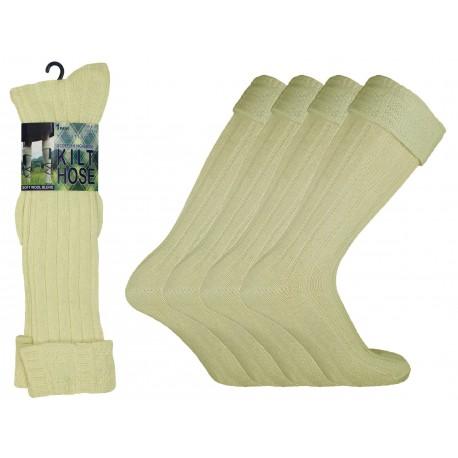 Mens 6-11 Cream Scottish Kilt Socks