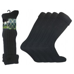 Mens 6-11 Black Scottish Kilt Socks