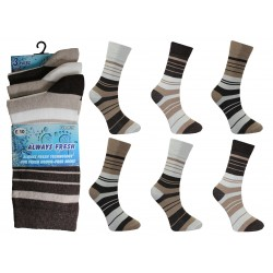 Mens 6-11 Always Fresh Brown Striped Everyday Socks