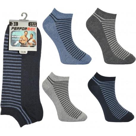 Mens 6-11 Performax Half Stripe Trainer Socks