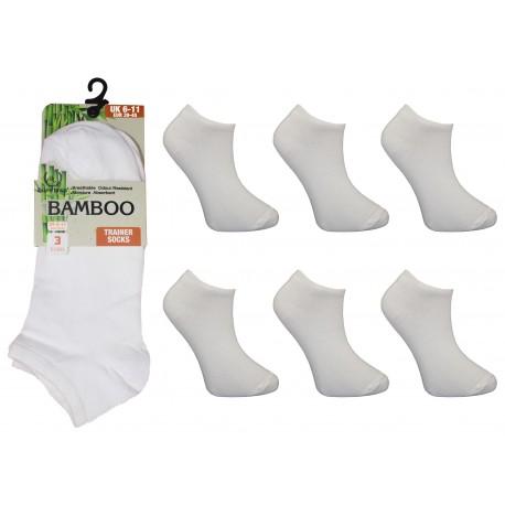 Mens 6-11 Ralph Lewis White Bamboo Trainer Socks