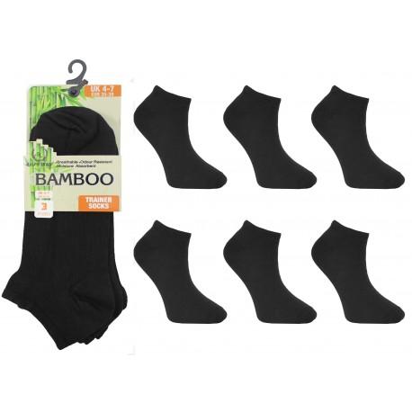 Ladies 4-7 Ralph Lewis Black Bamboo Trainer Socks