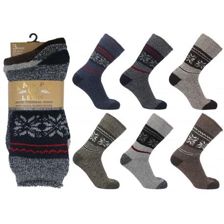 Mens 6-11 Ralph Lewis Fairisle Thermal Wool Socks