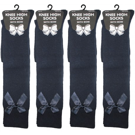 Girls 4-6 Navy Knee High Socks With Bow