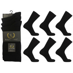 Mens 6-11 Ralph Lewis Plain Black Everyday Socks