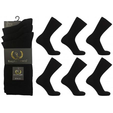 Mens 6-11 Ralph Lewis Plain Black Everyday Socks