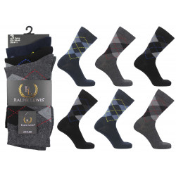 Mens 6-11 Ralph Lewis Dark Argyle Everyday Socks