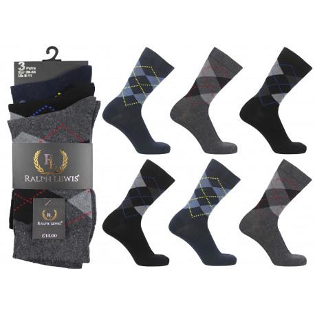 Mens 6-11 Ralph Lewis Dark Argyle Everyday Socks