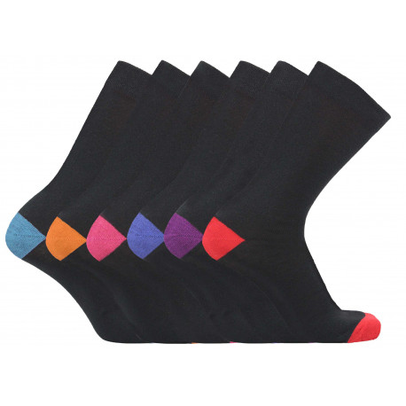 Mens 6-11 Colour Heel & Toe Everyday Socks