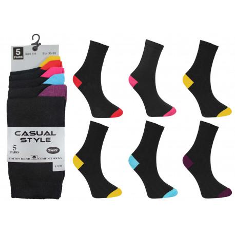 Girls 4-6 Colour Heel & Toe Ankle Socks 5 Per Pack